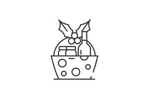 Christmas gift basket line icon
