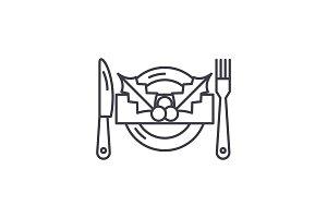 Christmas menu line icon concept