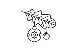 Christmas tree branch line icon