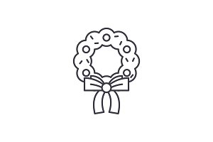 Christmas wreath line icon concept