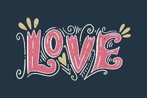 Vector love lettering postcard