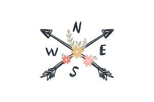 Floral compass arrows vector print
