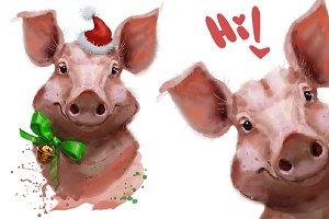 Cute pigs. Digital watercolor
