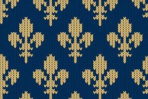 Fleur-de-lis woolen knitted pattern