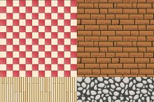 Wooden, stone, tiles and bricks