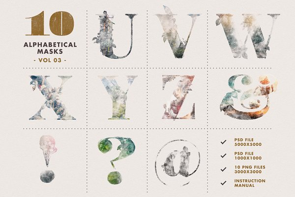 Photoshop Layer Styles: Timberline Co - 10 Alphabetical Masks Vol 03
