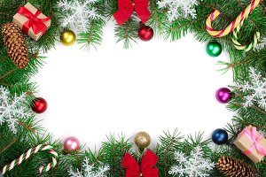 Christmas frame decorated with