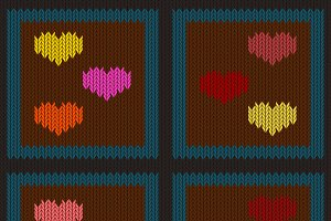 Knitted seamless pattern with hearts
