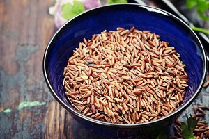 wild rice in ceramic bowl and ingred