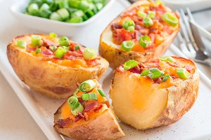Baked loaded potato skins with chedd
