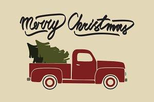 Red Christmas retro pickup truck.