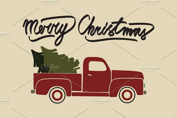Red Christmas Truck.Red Christmas Retro Pickup Truck