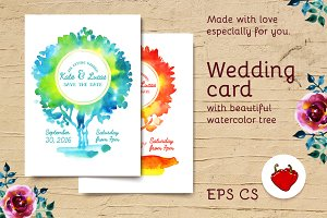 Watercolor wedding card with tree