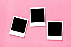 Retro style photo frames pink backgr