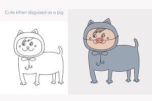 Cute kitten disguised as a pig
