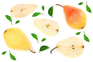 Three ripe red yellow pear fruits