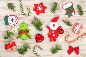 Christmas composition decorated with