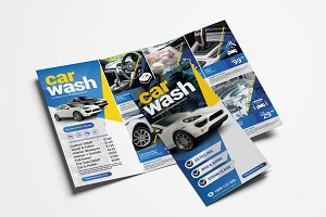 Car Wash Trifold Brochure Template