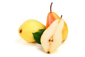 ripe red yellow pear with leaves