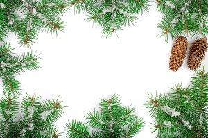 Christmas Frame of Fir tree branch