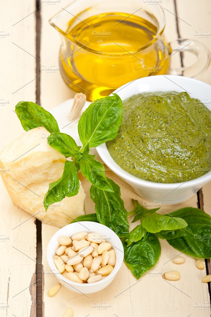 Italian classic basil pesto sauce ingredients 015.jpg - Food & Drink