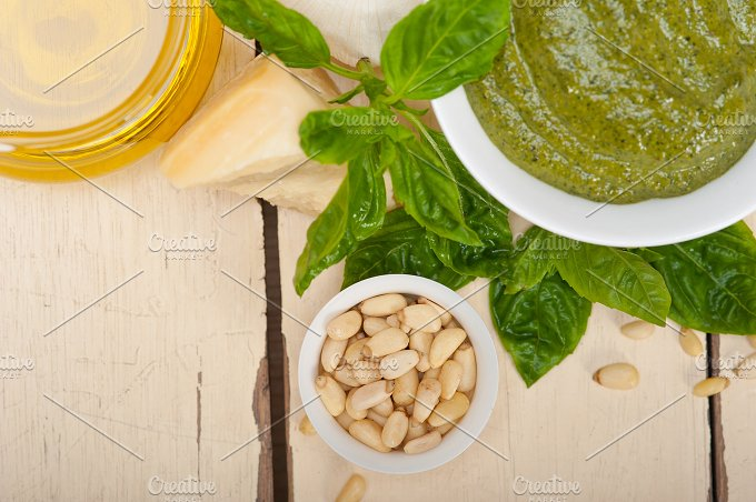 Italian classic basil pesto sauce ingredients 022.jpg - Food & Drink