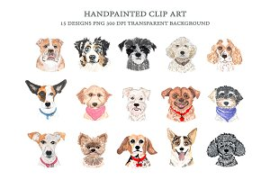 Dog Breeds Faces Clip Art, Dog Heads