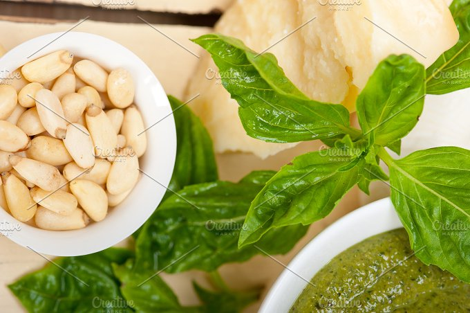 Italian classic basil pesto sauce ingredients 027.jpg - Food & Drink