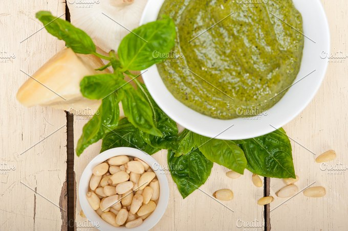 Italian classic basil pesto sauce ingredients 029.jpg - Food & Drink