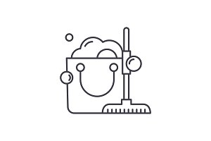 Cleaning service line icon concept