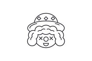 Clown face line icon concept. Clown
