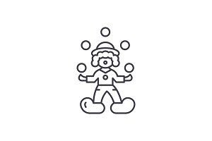 Clown juggler line icon concept