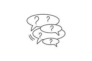 Collection of questions line icon