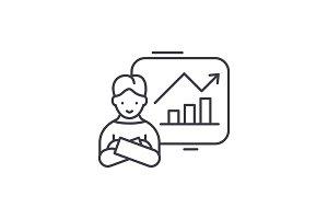 Company progress line icon concept