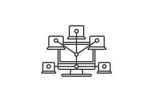 Computer network line icon concept