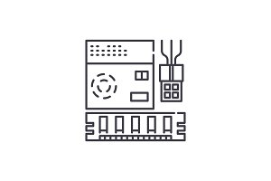 Computer software line icon concept