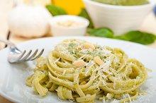 Italian classic trenette pasta and basil pesto sauce 002.jpg