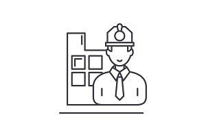 Construction engineer line icon