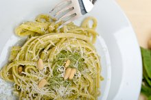 Italian classic trenette pasta and basil pesto sauce 005.jpg