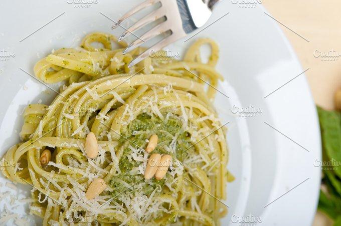 Italian classic trenette pasta and basil pesto sauce 005.jpg - Food & Drink