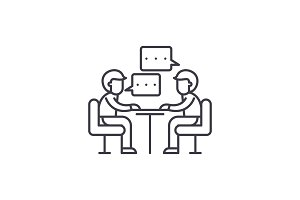 Consulting line icon concept
