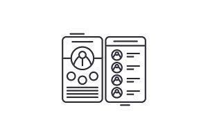 Contact book line icon concept
