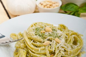 Italian classic trenette pasta and basil pesto sauce 008.jpg