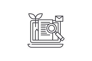Content marketing line icon concept