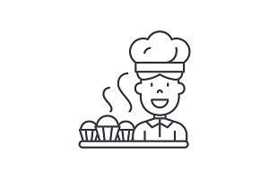Cook preparing desserts line icon