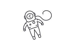 Cosmonaut line icon concept
