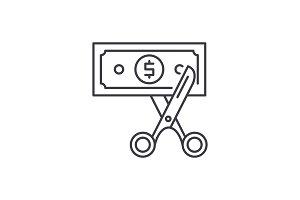 Cost optimization line icon concept