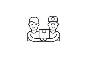 Courier service line icon concept