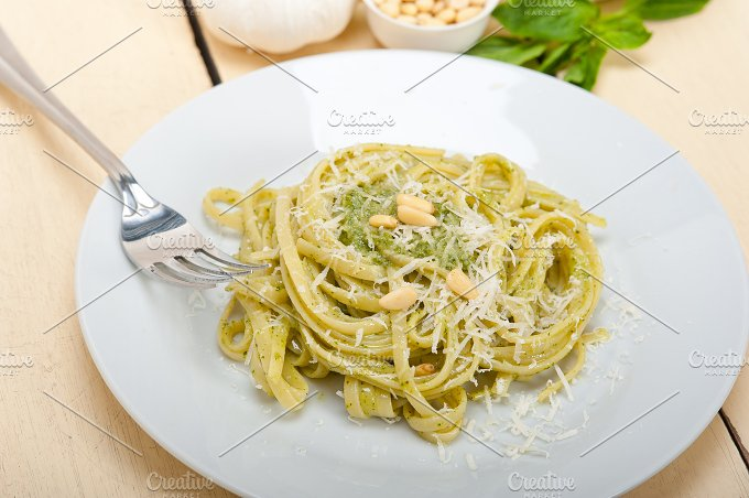 Italian classic trenette pasta and basil pesto sauce 013.jpg - Food & Drink