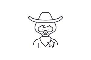 Cowboy line icon concept. Cowboy